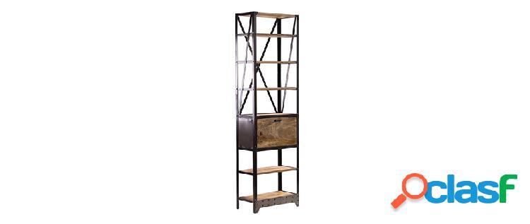 Libreria in legno massiccio e metallo stile industriale