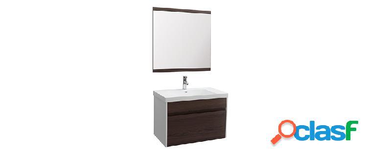 Mobile da bagno con vasca specchio e cassetti bianco e legno