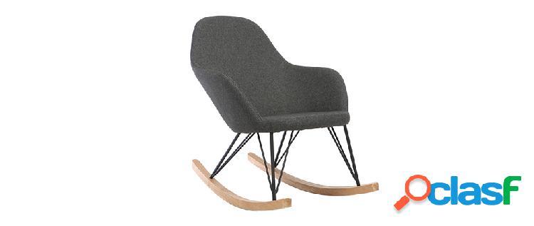 Poltrona relax - Sedia a dondolo tessuto grigio antracite