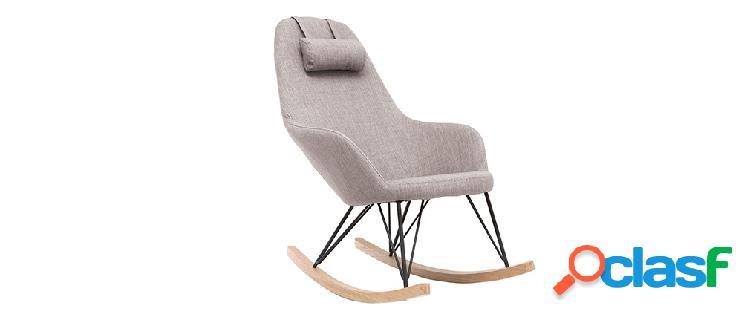 Poltrona relax - Sedia a dondolo tessuto grigio gambe in