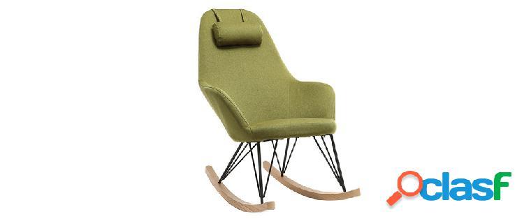 Poltrona relax - Sedia a dondolo tessuto verde gambe in