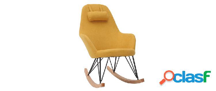 Poltrona - sedia a dondolo in tessuto giallo e piedi in