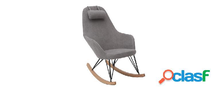 Poltrona - sedia a dondolo in tessuto grigio chiaro e piedi