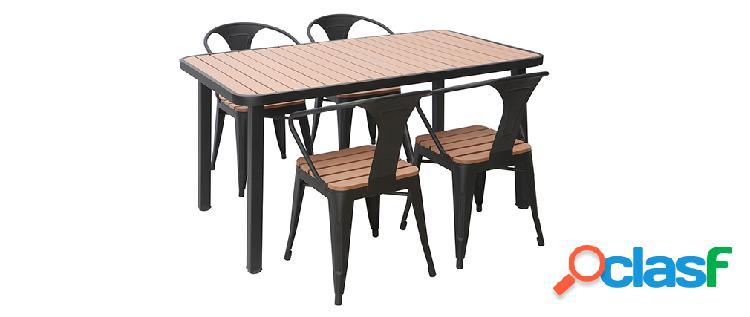 Salotto da giardino con tavolo e 4 sedie in legno e metallo