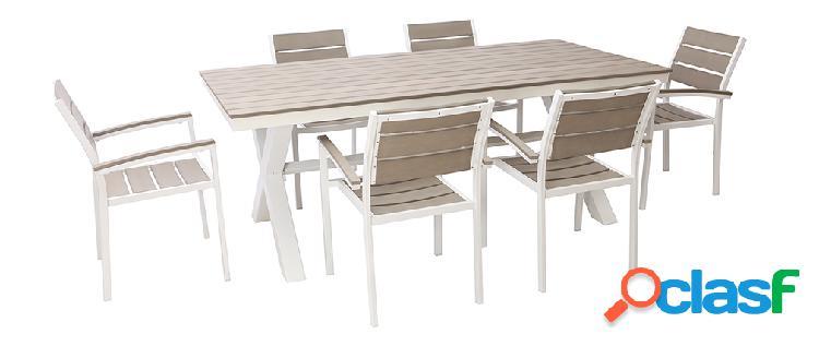 Salotto da giardino con tavolo e 6 sedie in metallo bianco e