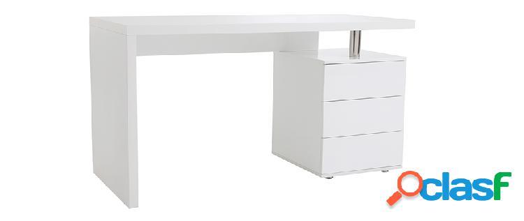 Scrivania design 3 cassetti laccata in bianco CALIX