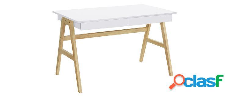 Scrivania design bianco e legno BROOK