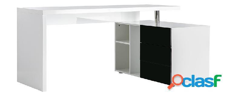 Scrivania design laccata bianca e nera cassettiera lato
