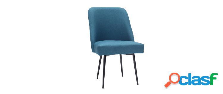 Sedia design in tessuto blu anatra e piedi in metallo nero