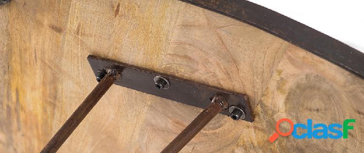 Tavolo da pranzo rotondo industriale in legno metallo D125