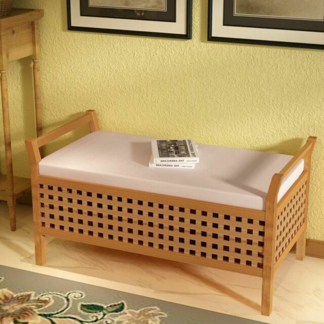 Cassapanca in legno noce con vano portaoggetti cuscino
