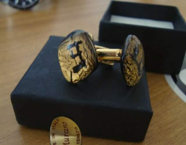 Gemelli nuovi originali in foglia oro di MURANO