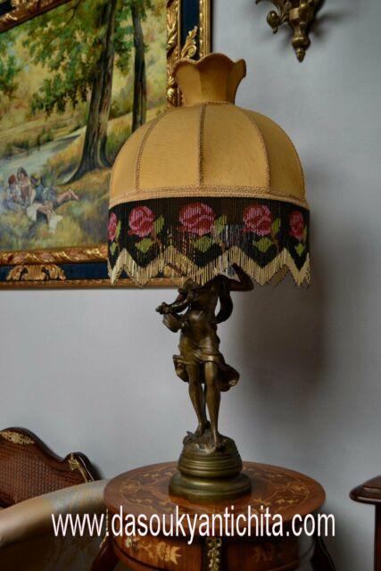 Antica lampada del 900 in bronzo firmato Moreau