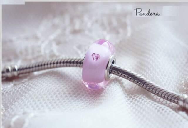 Pandora Charm *PCZ* Vetro Murano Cuori Rosa