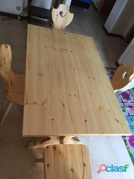 tavolo in pino con sedie tirolese n 4 per arredo terrazza