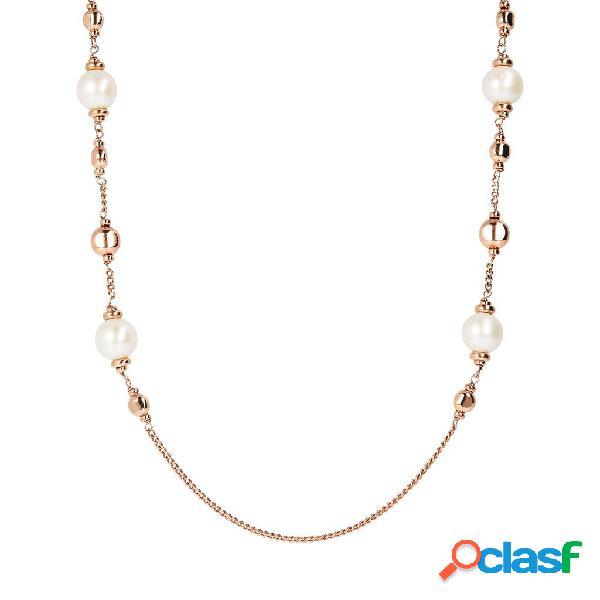 Collana Lunga con Perle di Fiume e Beads in Golden Rosé  
