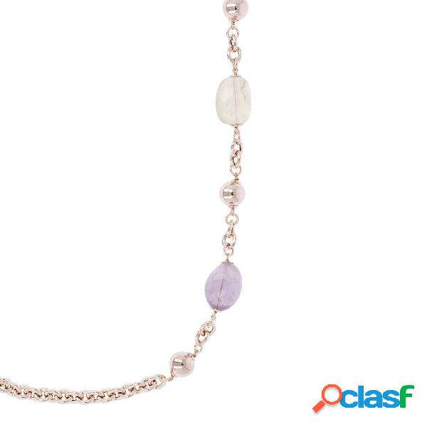 Collana con Pietre Dure Multicolore Variegata | ROSE GOLD /