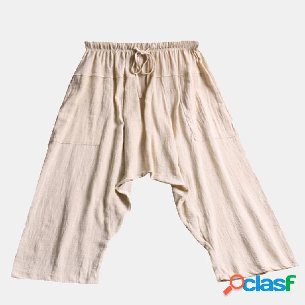 Harem pantaloni in cotone con coulisse