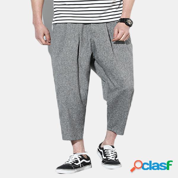 Harem pantaloni in lino cotone