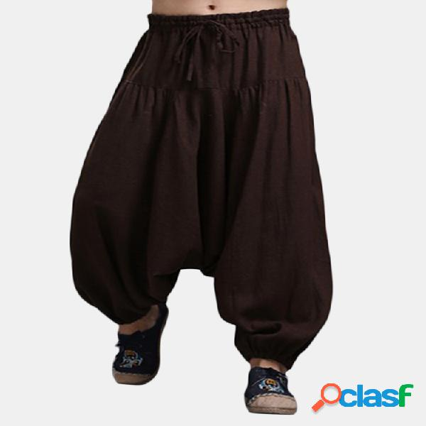 Harem pantaloni in lino tinta unita con coulisse