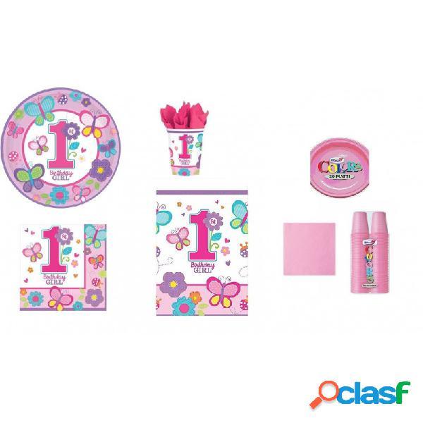 KIT 7 - 217 PZ. DECORAZIONI PRIMO COMPLEANNO BIRTHDAY GIRL +