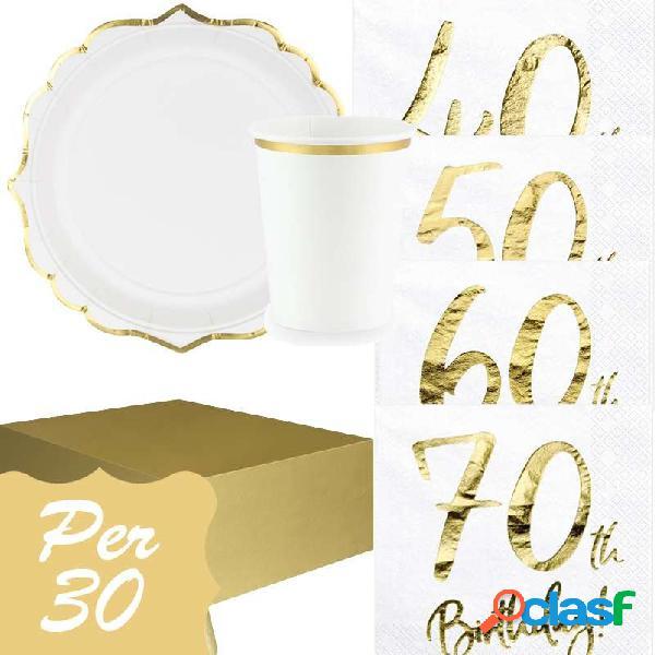 KIT N.3 SET TAVOLA 40 50 60 O 70 ANNI - SET FESTA BIANCO E