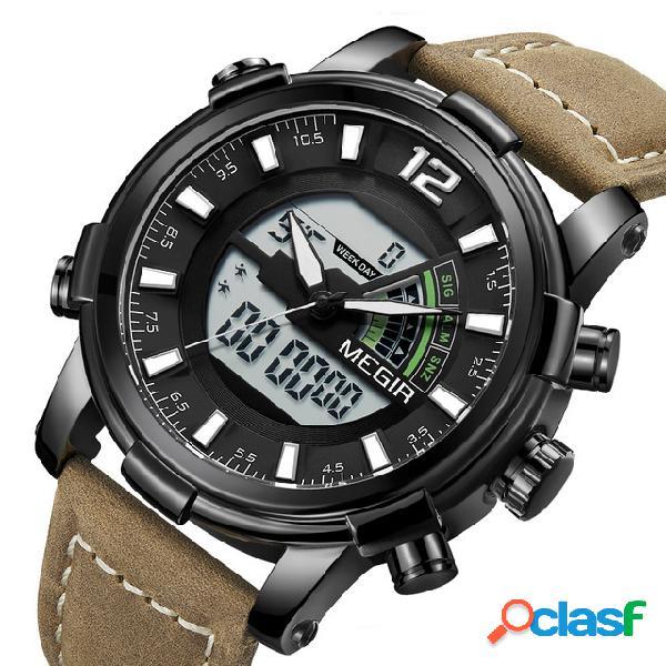 Military Sport Style LED Cronografo Luminoso Dual Display