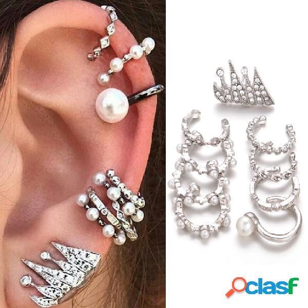 Orecchini clip con perline diamanti