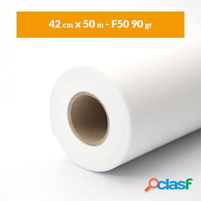 Rotolo carta plotter A2 bianco (42 cm x 50 m - F50 90 gr)