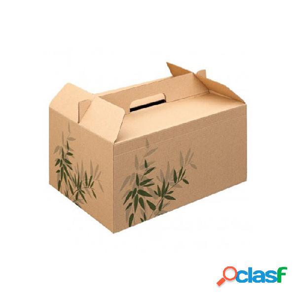 Scatola Box Per Asporto In Cartone Marrone Con Decoro Cm