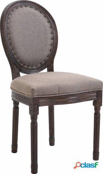 Sedia da Pranzo Classica Shabby Chic Legno Anticato Scuro e
