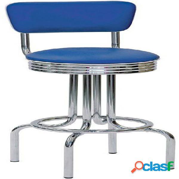 Sgabello Club in acciaio cromato, schienale e seduta
