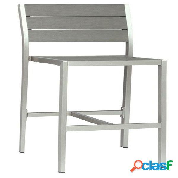 Sgabello Silver in alluminio satinato con seduta e schienale