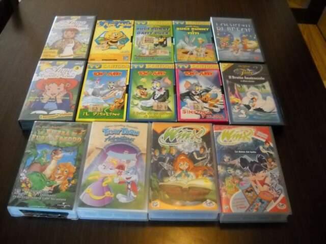 Lotto di 14 cassette vhs cartoni animati
