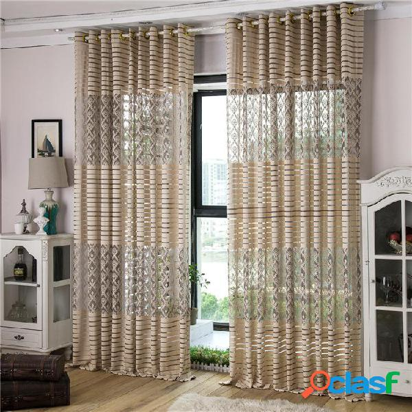 2 pannelli Jacquard Lace Punching Pure Tulle Curtains