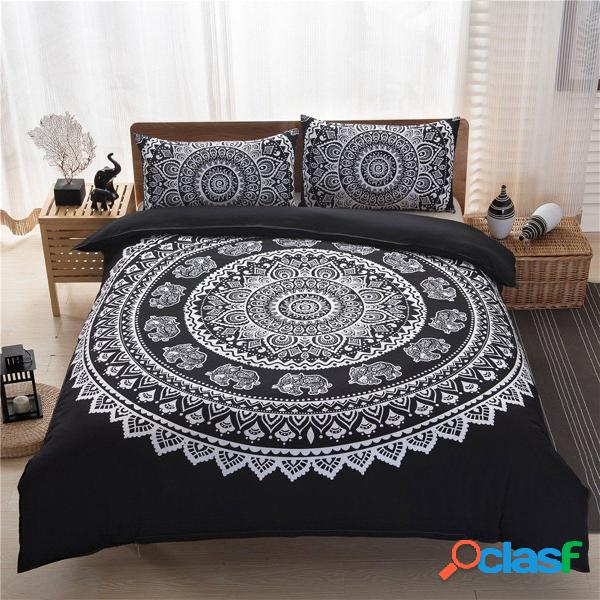 3PCS Indiano Mandala Hippie poliestere King Size Bedding