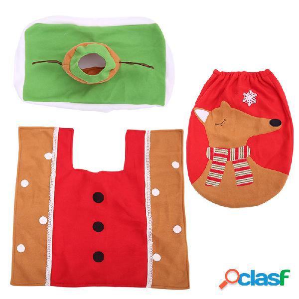 3Pcs / Set Christmas Toilet Cover Set Coperchio WC Coperchio