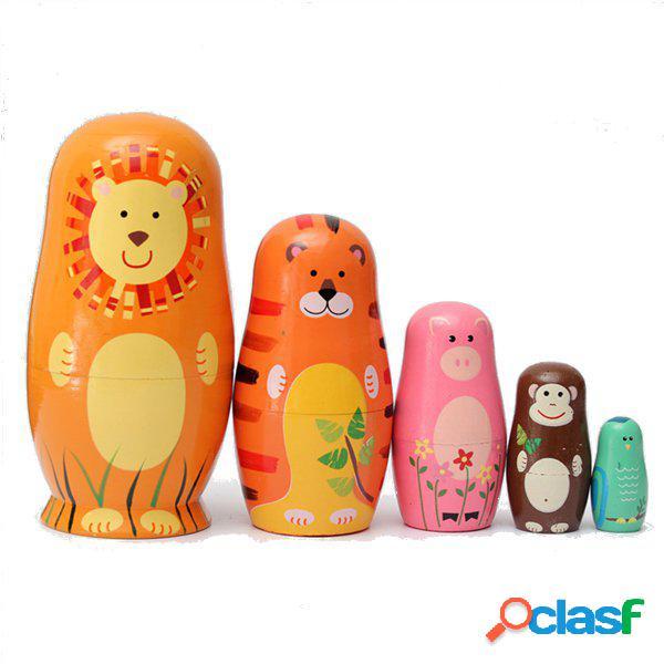 5Pcs Bambole russe di legno carino Matrioska Bambola russa