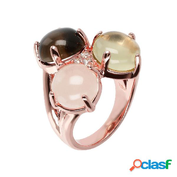 Anello Tre Pietre Cabochon | ROSE GOLD / 10 / QUARZO