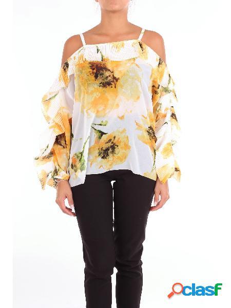 BLUGIRL BLUGIRL - TOP Top Manica Lunga Donna Bianco e giallo