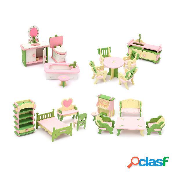 Bambole in legno in miniatura Set di mobili in camera da