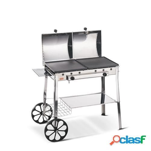 Barbecue a gas Ferraboli mod. Ghisa Gas Stereo in acciaio