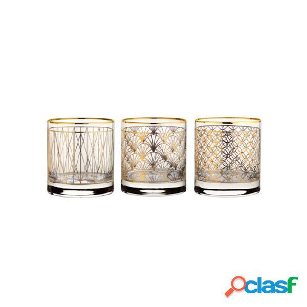 Bicchiere Side Coco Gold Con Decori Oro Assortiti In Vetro