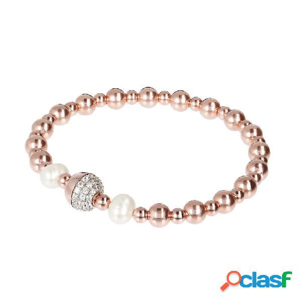 Bracciale Stretch con Perle e Punti Luce   ROSE GOLD / ONE