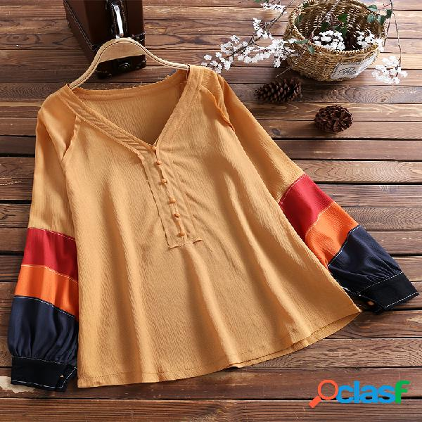 Camicia a maniche lunghe in patchwork a maniche lunghe con