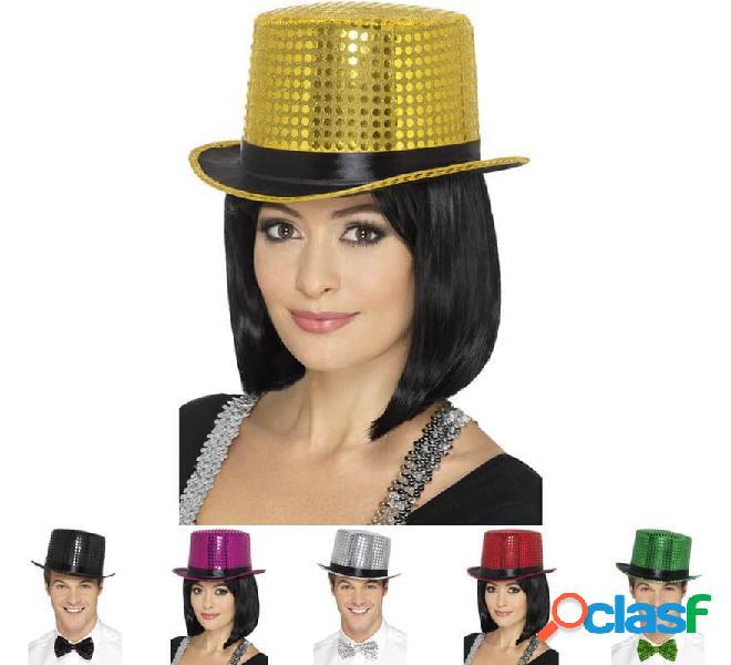Cappello a cilindro con paillettes in vari colori