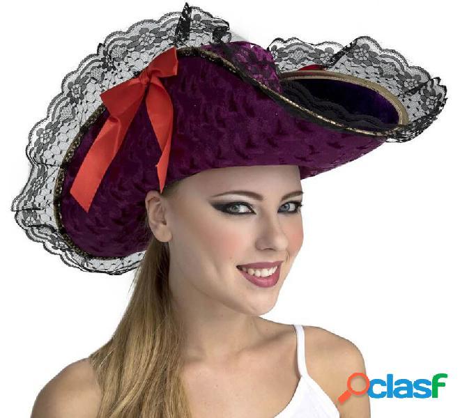 Cappello da capitano pirata viola con fiocco