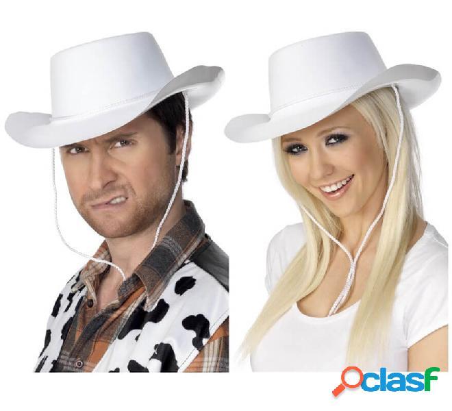 Cappello da cowboy bianco floccato per uomo o donna