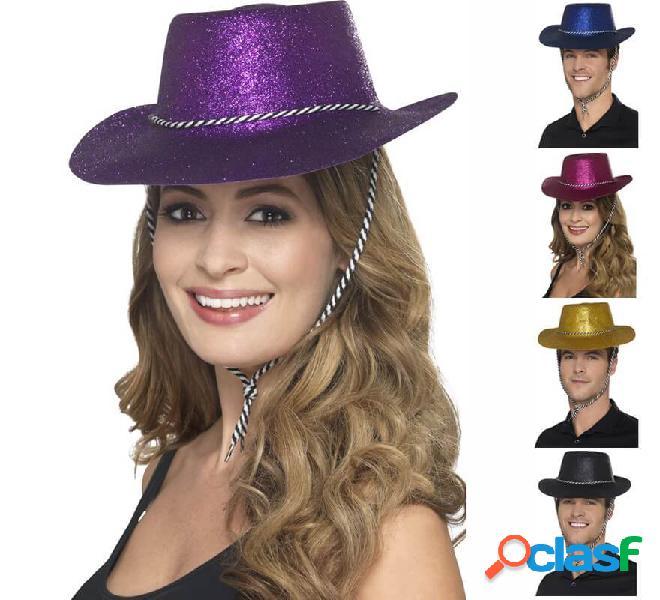 Cappello da cowboy con glitter in vari colori