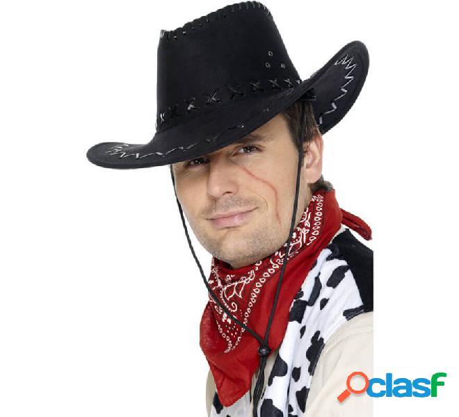 Cappello da cowboy in camoscio nero per uomo
